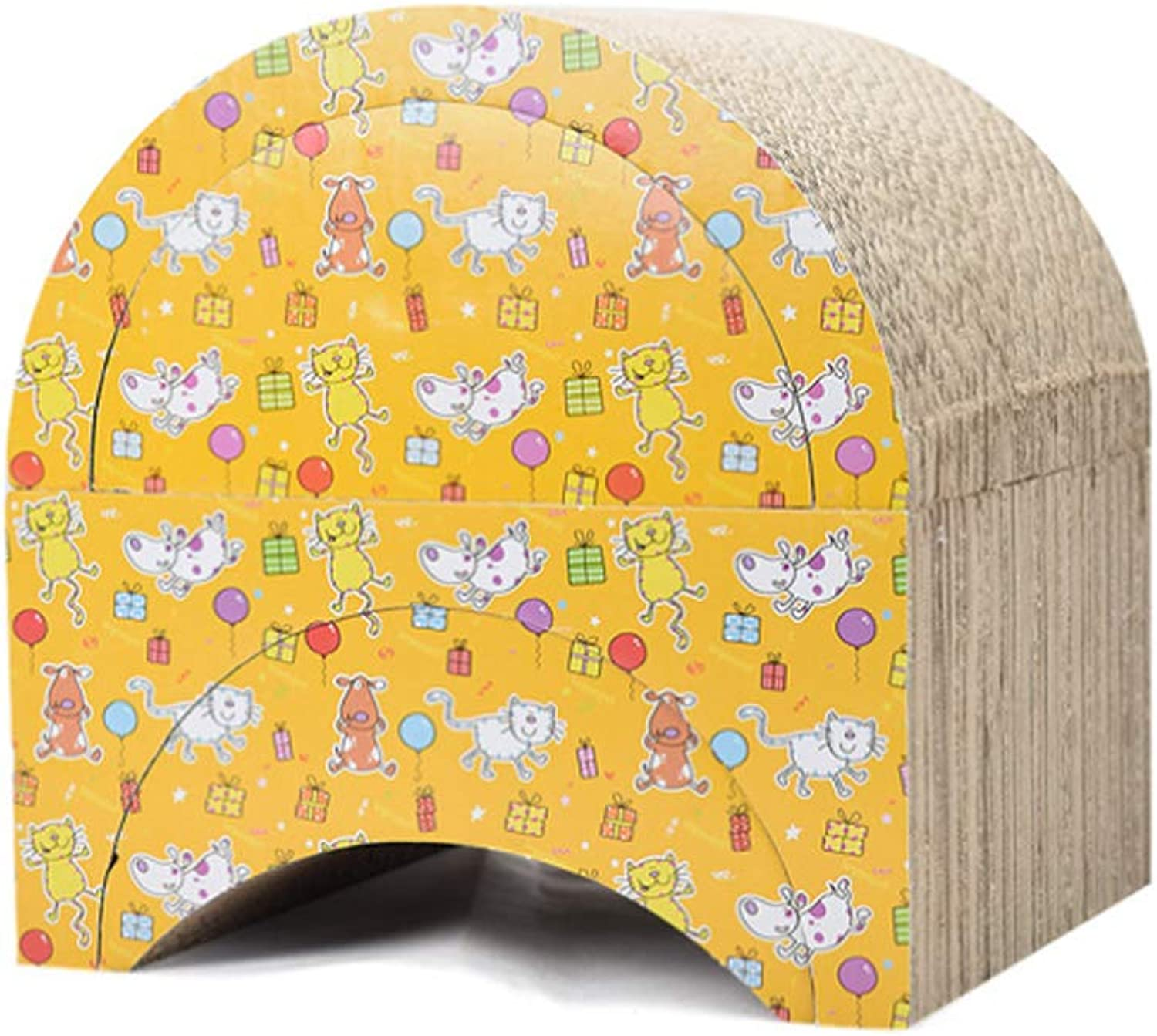 NDY Pet Toy Cat Paper Claws Building Blocks Combination Arched Brown Cat Scratch Board Corrugated Paper Venting Play