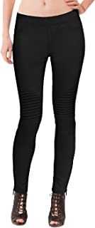 Womens Super Comfy Stretch Ankle Zip Moto Skinny Pants