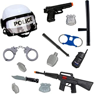 15 Pcs Police Officer Costume Role Play Kit with Police Badge, Handcuffs, Swat Helmet, Gun, Pistol for Pretend Play, Detective, FBI, Halloween, Cop Costume, School Play for Boys and Girls Black