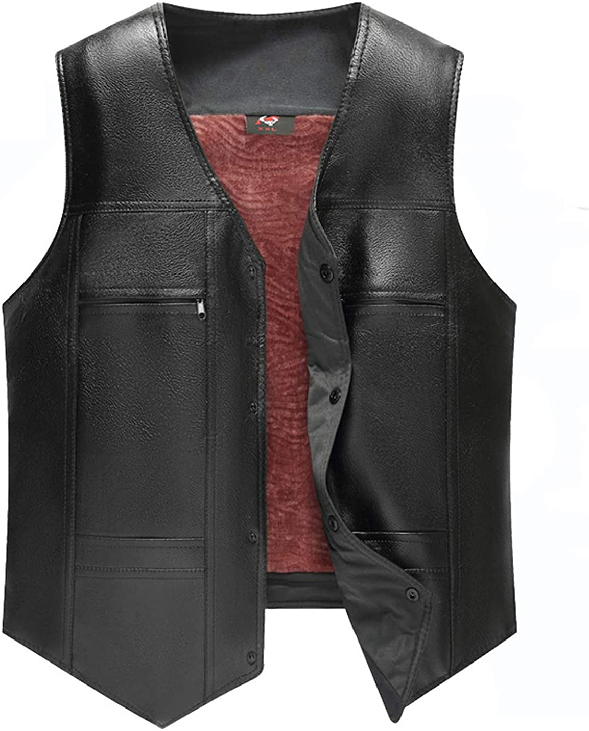 Gihuo Men's Warm Thickened Fleece Lined Motorcycle Leather Vest Sleeveless Jacket