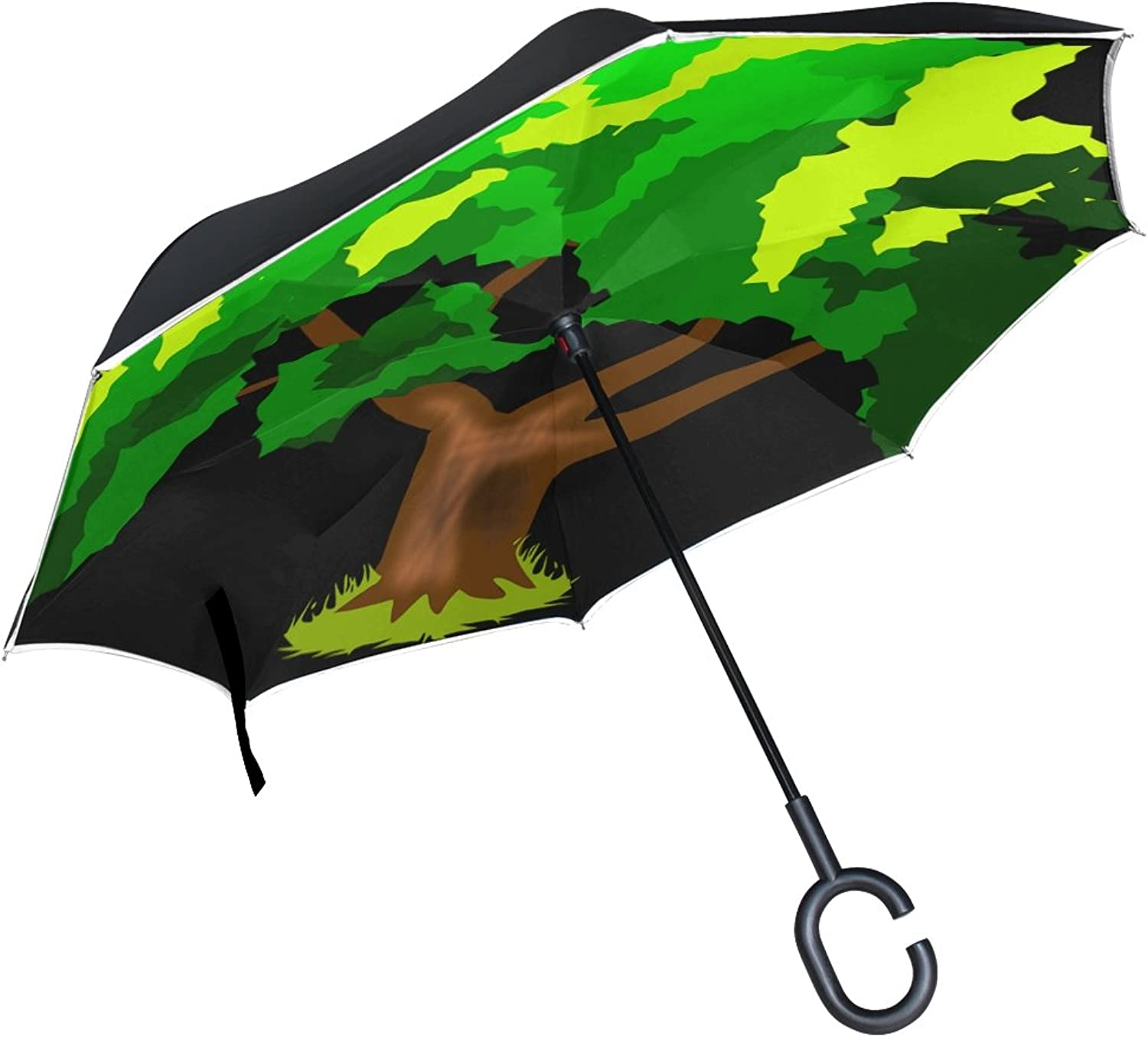 Double Layer Ingreened Plant Tree Green Trunk Leaves Spring Summer Umbrellas Reverse Folding Umbrella Windproof Uv Predection Big Straight Umbrella for Car Rain Outdoor with CShaped Handle