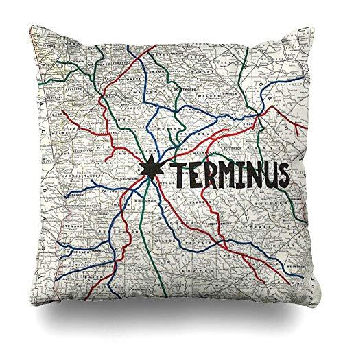 Generic Dekokissen Abdeckung Platz die Walking Dead Terminus Karte Dekorative Kissenbezug Wohnkultur Kissenbezug 18x18 Zoll