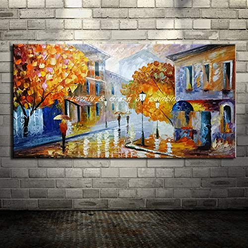 Rahmenlose MalereiModerne Messer Straßenecke Landschaft Ölgemälde Leinwand Home Dekoration Wandkunst Gemälde40X80cm