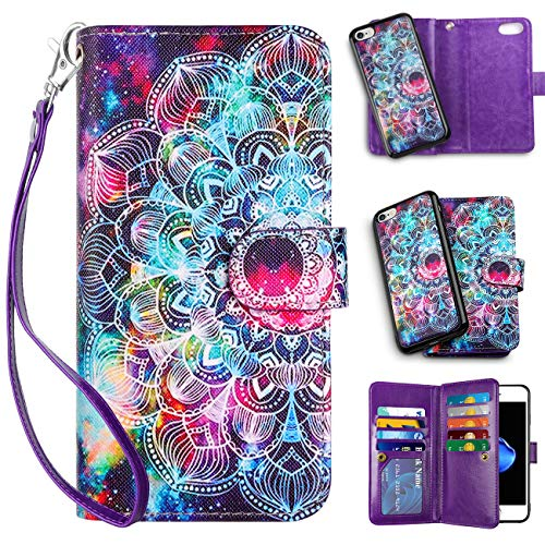 Vofolen 2-in-1 Case for iPhone 8 case iPhone 7 Case Wallet Card Holder ID Slot Detachable Strap Protective Slim Hard Shell Magnetic PU Leather Folio Pocket Flip Cover Case for iPhone 7/8 (Mandala)