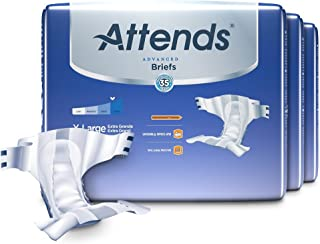 Attends Advanced Briefs with Advanced Dry-Lock Technology for Adult Incontinence Care, XL, Unisex, 20 Count (Pack of 3)