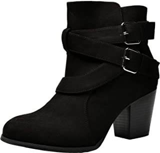 Luoika Women's Wide Width Ankle Boots - Low Stack Heel Zip up Bow Buckle Strap Casual Ankle Booties.