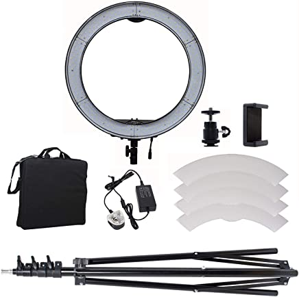 COOPIC RL-650SIII Bio-Color 3200K- 5600K Dimmable Ring Video Light 18 inch/48 Centimeter Outer 55W 240 Pieces LED Light with Light Stand Mobile Holder Shoe White Filter Set (Black)