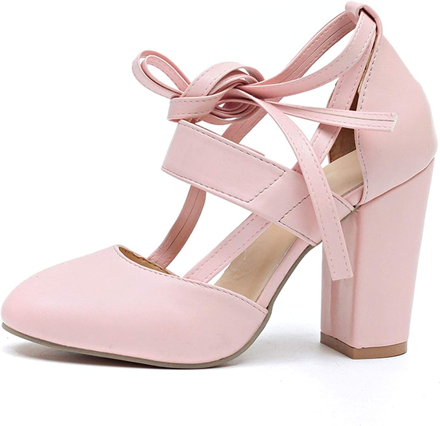 Monica's house Plus Size Female Ankle Strap High Heels shoes Thick Heel for Women Party Wedding,Pink-D2314,6.5