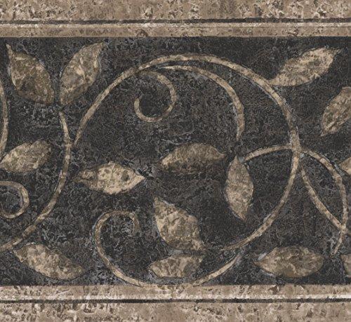 Abstrakt Damast Beige Vines schwarz Vintage Tapete Bordüre Retro Design, Rolle 15'x 17,8cm