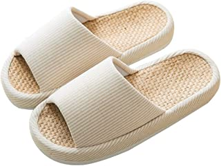 GZZX Indoor Comfortable Open Toe Casual Linen Casual Home Anti-Slip Slippers for Women.