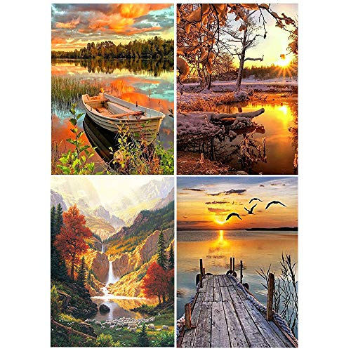 """ldab Diamond Painting by Number Kits, DIY 5D Full Drill Arts Craft for Adults Art Beginner, 11.8"""" W x 15.7"""" L Crystal Rhinestone Canvas Paintings Indoor Home Wall Decor 4 Pack-Landscape Style"""