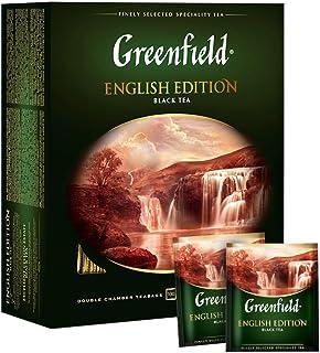 GREENFIELD ENGLISH EDITION | Schwarztee | Starker schwarzer Tee zum Frühstück | Enthält Koffein | Hochwertigen Tee | Glutenfrei | Koscher | Ceylon-Tee | 100 Beutel