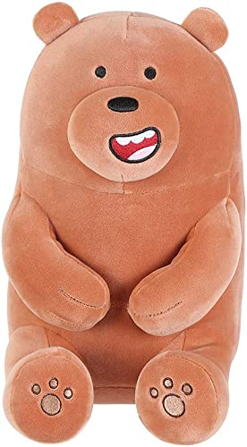 MINISO We Bare Bears Grizz Plush Soft Toy, 30cm. Official Licensed Merchandise.