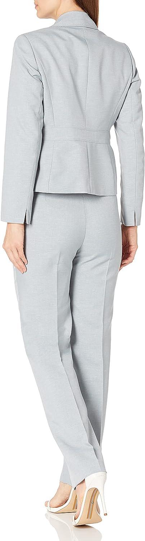 Le Suit Women's 3 Button Notch Collar Glazed Melange Pant Suit