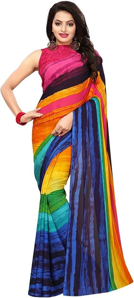 Indian Satrani georgette with blouse piece Saree (789ST54_ Multi_ One Size) Saree