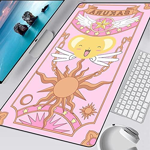 Card Captor Sakura Pink Large Gaming Mouse Pad Bloqueo de Borde Tarjeta Mágica Teclado Tapete de Escritorio para Computadora Portátil Gamer 800x300x3mm