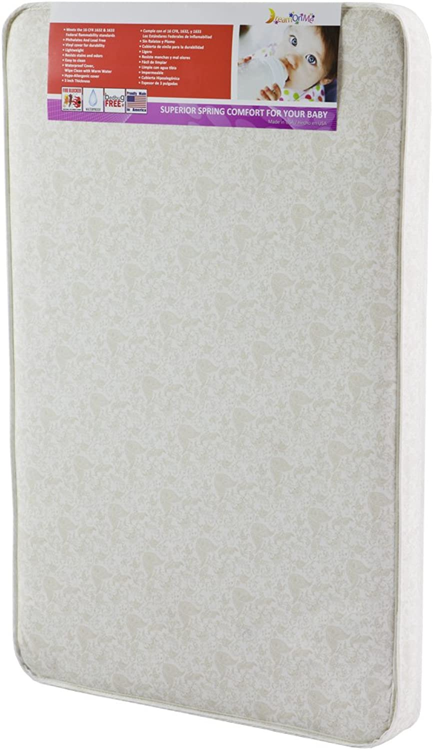 Dream On Me 3-Inch Rounded Corner Playard Mattress, White Brown