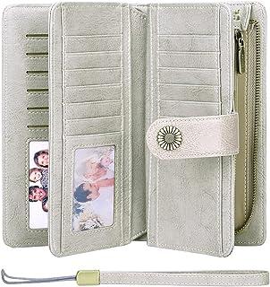 SENDEFN Wallets for Women Genuine Leather Credit Card Holder with RFID Blocking Large Capacity Wristlet, Za-grey, Rfid Wallet