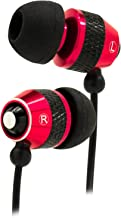 Bastex Universal Earphone/Ear Buds 3.5mm Stereo Headphones in-Ear Tangle Free Cable with Built-in Microphone Earbuds for iPhone iPod iPad Samsung Android Mp3 Mp4 and More-Red/Black