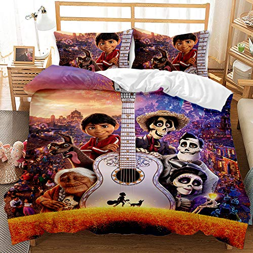 GD-SJK Disney Duvet Cover Set, 100% Polyester Cartoon Children's Bedding Set, Machine Wash, with Concealed Zip (Coco 05, Single: 135 x 200)