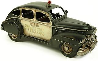 CAPRILO Figura Decorativa de Metal Coche Antiguo de Policía. Vehículos. Adornos y Esculturas. Coleccionismo. 32 x 13 x 14 cm.