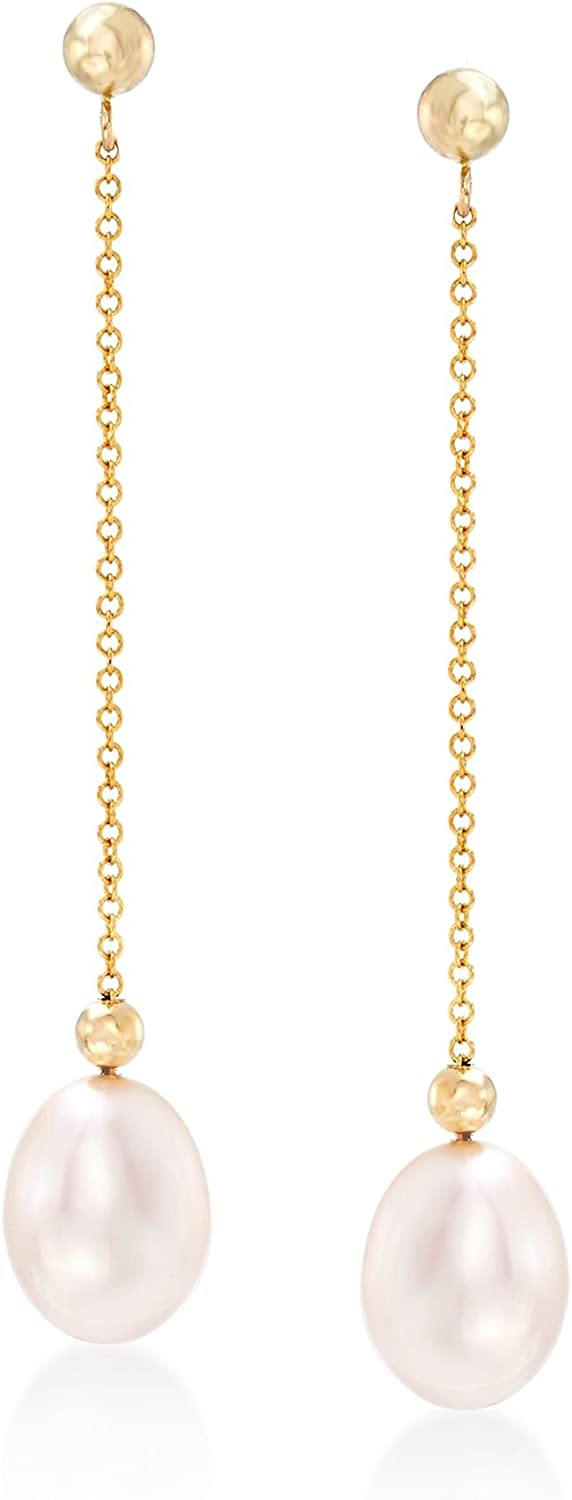 Ross-Simons 8-8.5mm Cultured Pearl Bead and Chain Drop Earrings in 14kt Yellow Gold