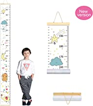 PASHOP Kids Elephant Growth Chart Baby Roll-up Wood Frame Canvas Fabric Removable Height Growth Chart Wall Art Hanging Ruler Wall Decor for Nursery Bedroom 79 x 7.9 Inch (Bird and Elephant)