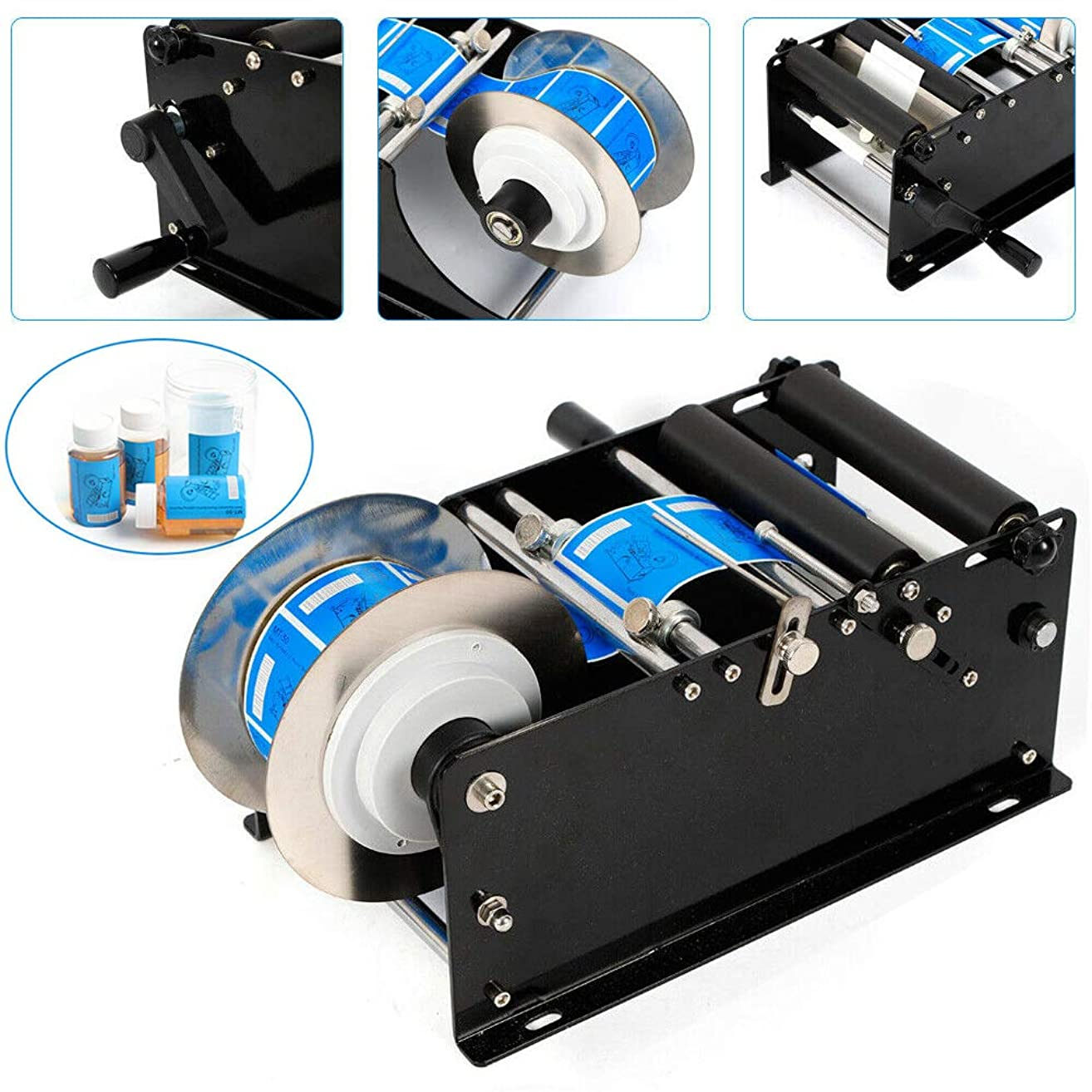 Labeling Machine, TBVECHI Manual Round Bottle Labeling Machine MT-30 Round Bottle Sticker Label Machine Labeler 30Times/Minute