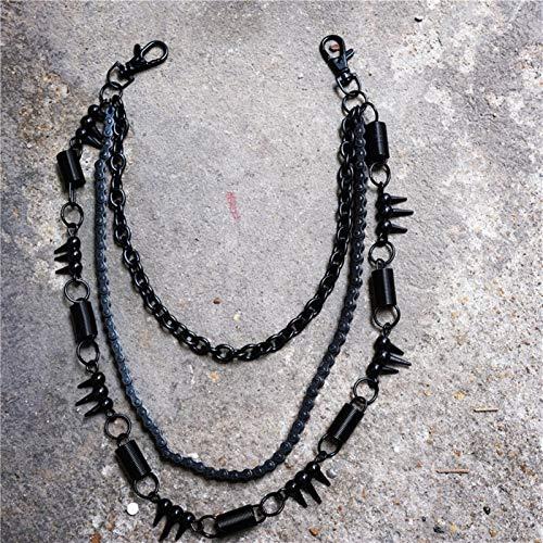 Fashion Fashion Men's Jewelry Denim Wallet Chain 3 Layer Waist Punk Crochet Pants Belt Belt Jewelry Key Chain Pants Chain for Jeans Pants (Color : Black)
