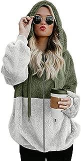 Xuways Women's Winter Color Block Fuzzy Hooded Sweater T Shirt Puff Long Sleeves Full Zip Tops Blouse
