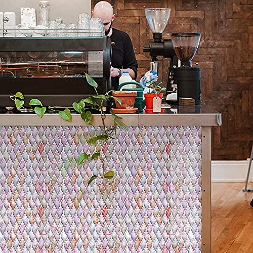 BBNBY Azulejos Adhesivos de Color Rosa Naranja con Estampado de Pegar en los Azulejos Azulejos de Pared autoadhesivos de PVC Azulejos de Piso autoadhesivos de PVC Resistentes al Calor Azulejos de