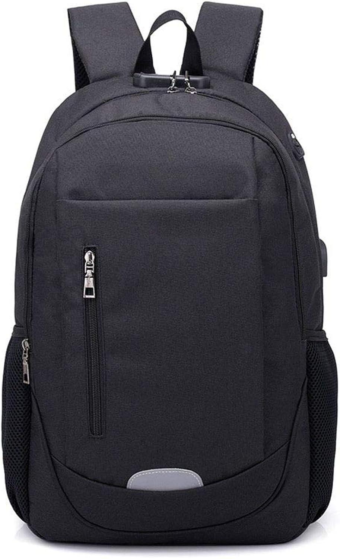 DYR Outdoor Travel Bag Casual Backpack Male and Female USB Charging Computer Bag Shoulder Bag Shoulder Bag Chest Bag Student Bag, Black, 15.6 Inch