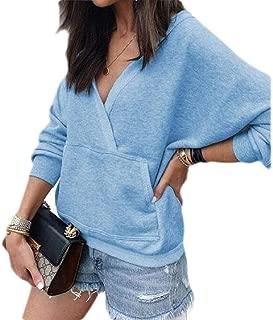 UUYUK Women Winter Pullover Long Sleeve V Neck Pockets Solid Sweatshirt
