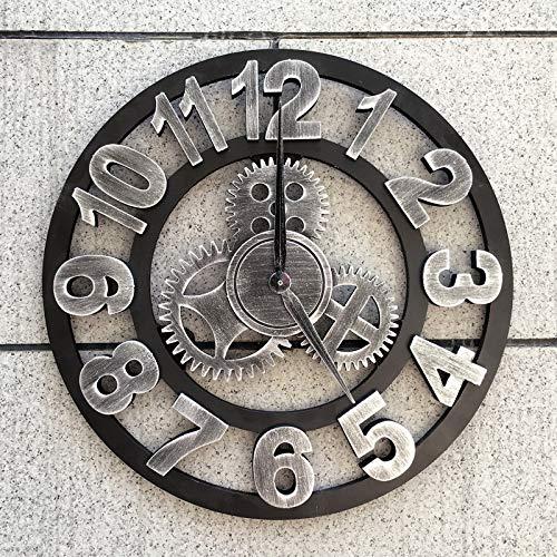 Relojes de pared LYQQQQ Grande Vintage 3D 40 cm de Engranajes Industria de Viento Decoración de Viento Loft Salón de Pelo Cafetería Sala de Estar Decoración SC257