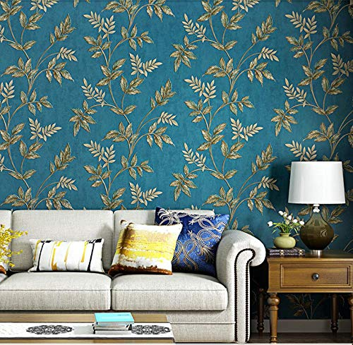 3D Wallpaper Non-Woven Idyllic Flowers Wallpaper Peacock Blue Wallpaper Applicable to Living Room, TV Background Wall Home Decor 9.8mx0.53m