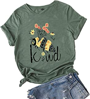 Jtjfit Women Flower Bee Kind T-shirt Graphic T Shirt Short-sleeved