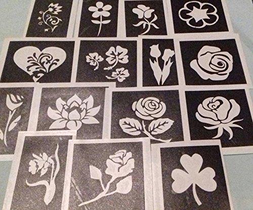 Dazzle Glitter Tattoos 25 x Blumen Themed Mix Schablonen für Das Ätzen auf Glas Rose Tulip Daisy Narzisse