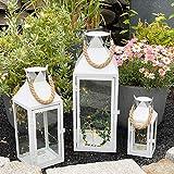 INDA-Exclusiv 3er Set XL Gartenlaterne Metall Windlicht Kerzenhalter Laternen mit Seilgriff weiß 25/40/51cm