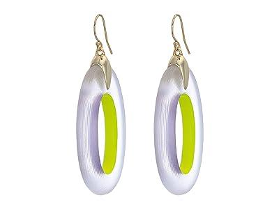 Alexis Bittar Oval Drop Earrings (Priarie Crocus/Neon Yellow) Earring