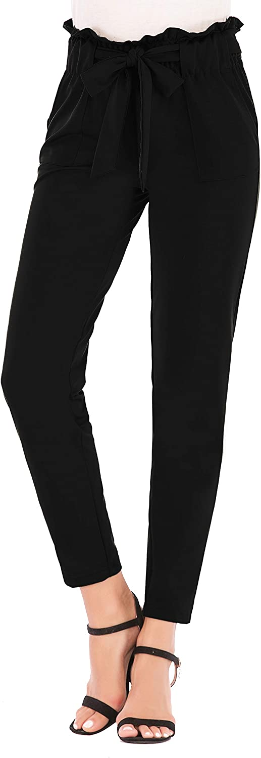 Famnbro Women's Casual High Waist Stretch Pull On Straight Leg Long Pants with Belt