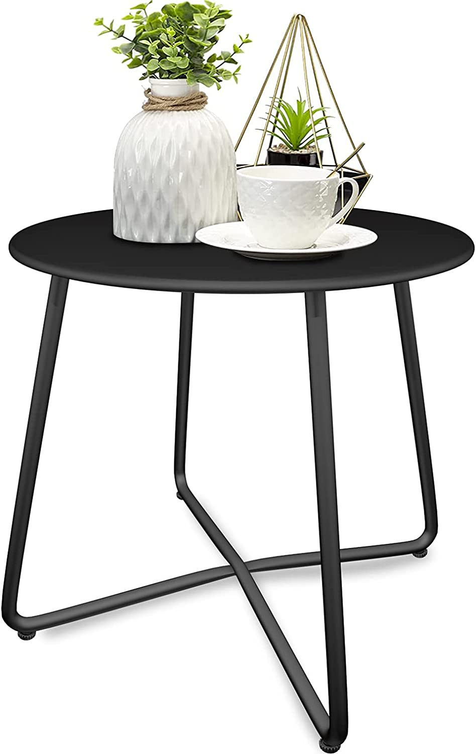 YLHDRILY Steel Patio Side Table, Metal Outdoor Small Round End Table Heavy Duty Weather Resistant Anti-Rust Small Steel Round Coffee Table Porch Table Snack Table for Balcony,Garden,Yard,Lawn,Black : Patio, Lawn & Garden