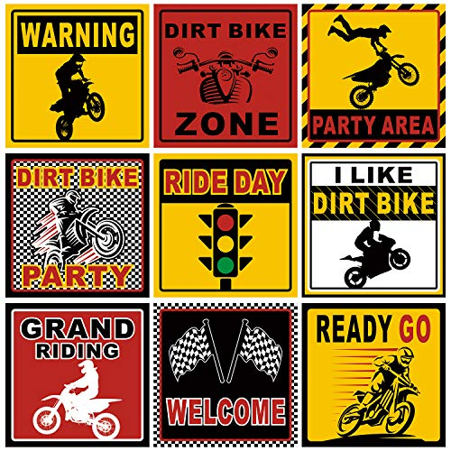 9 Pieces Dirt Bike Party Sign Motorcycle Party Decorations Dirt Bike Room Decor Race Car Party Cutouts for Party Supplies, 6 Inch
