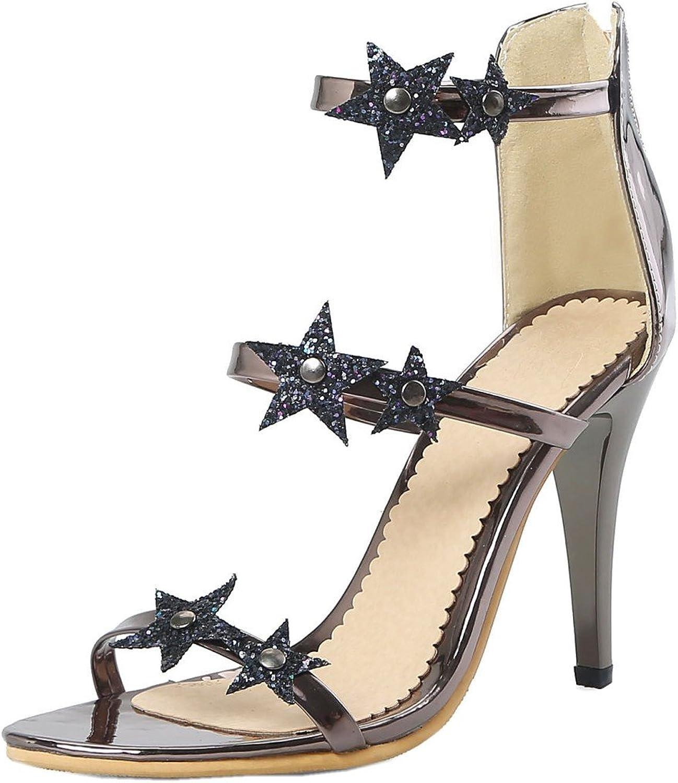Rongzhi Womens Zip Stiletto Pumps High Heels Open Toe Shiny Star Party Dress Heeled Sandals