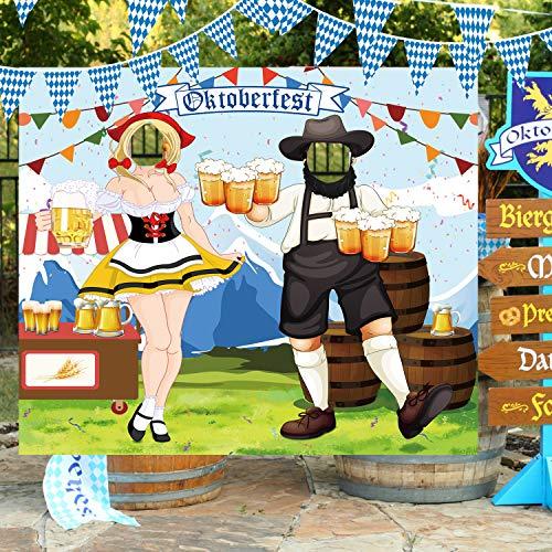 Oktoberfest deko Versand Foto Requisit,oktoberfest photo both backdrop Riesiger Stoff Foto Stand Hintergrund, Lustige Oktoberfest Spiel Versorgungen für Bayerisches Bier Festival 1.5 * 1.3M
