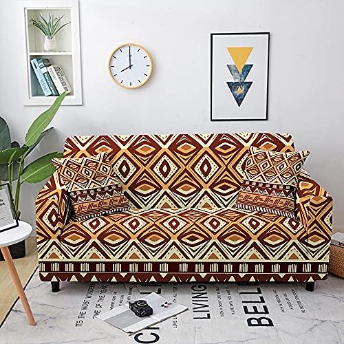 WXQY Funda de sofá elástica étnica Funda de sofá Totalmente Envuelta Funda de sofá geométrica elástica Funda de sofá Antideslizante Funda de sofá A2 4 plazas