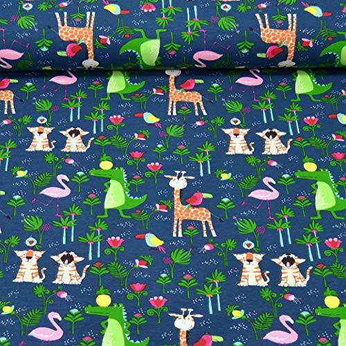 MAGAM-Stoffe Dschungel Freunde Kinder Jersey Stoff Oeko-Tex Meterware 50cm (Bunt auf Dunkelblau)