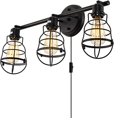 Stepeak Rustic Bathroom Vanity Lights Fixture, 3 Wire Cages Industrial Wall Sconce with Plug in Cord and Farmhouse Setting