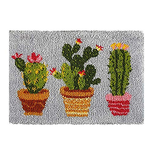 Tapestry Kits Latch Hook Rug Kits Carpet Embroidery Latch Hook Rug Needlework Button Package DIY Rugs Hook Rug Point Rug Cactus
