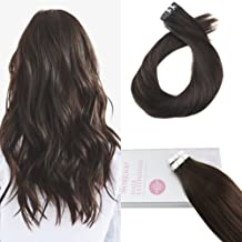 Moresoo 24 Inch Human Hair Extensions Remy Hair Tape in Hair Darkest Brown Color #2 Soft and Silky Seamless Skin Weft Real Brazilian Human Hair 20pcs/50g