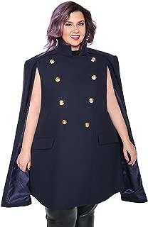 Women's Double Breasted Amelia Military Cape Coat Plus Size Wool Blend Cloak Outwear